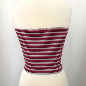 Brandy Melville Tops - Brandy Melville Striped Rubbed Tube Crop Top